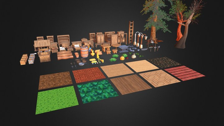Little hand painted low poly pack 3D Model