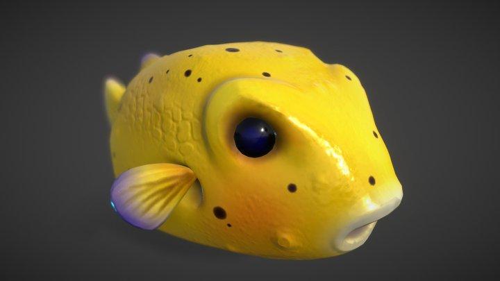 Yellow Puffer Fish 3D Model