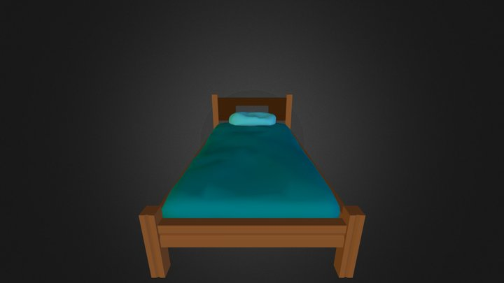 Simple Bed (LowPoly) 3D Model