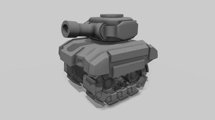 Animated cartoon tank 3D Model