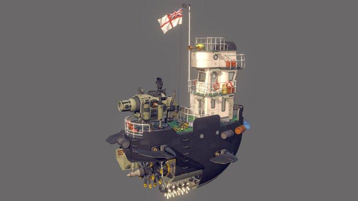 Low Poly Dieselpunk Airboat/Gunship 3D Model