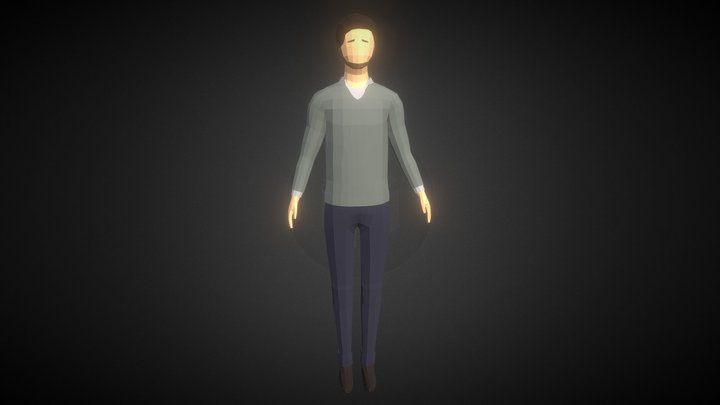 Low-poly Man Casual Clothes 3 3D Model