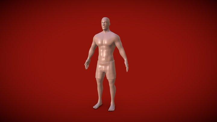 Low poly muscular male body 3D Model