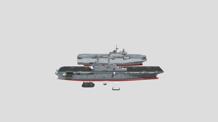 Multipurpose LHD Amphibious Assault Ship 3D Model