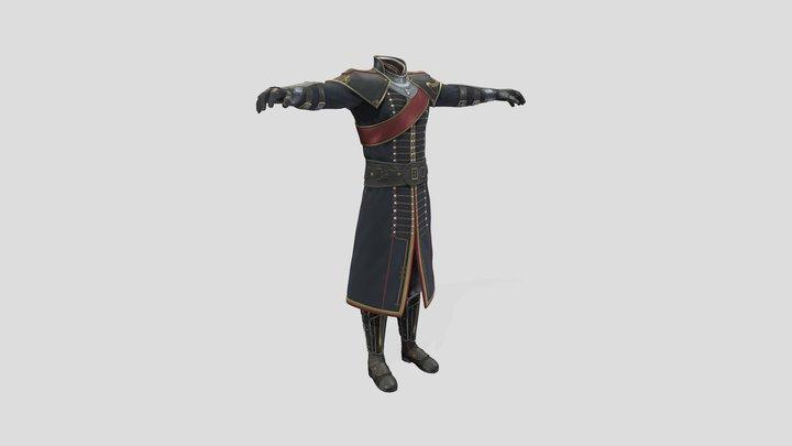 Men's Medieval Decorated Royal Uniform 3D Model