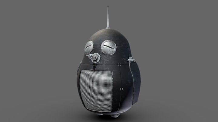 Weathered penguin-bot 3D Model
