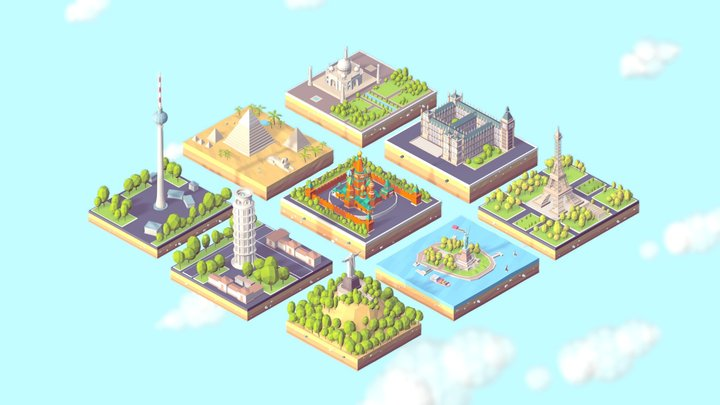 Polygonia World Landmarks Low Poly Bundle 3D Model