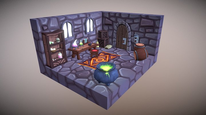 Low Poly Alchemy Lab Environment 3D Model