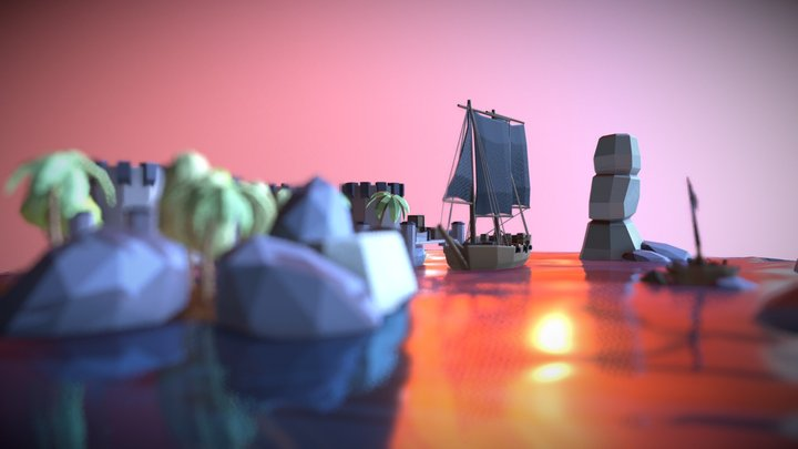 Pirate Island (Low Poly) 3D Model