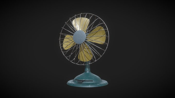 Low Poly Vintage Fan PBR 3D Model 3D Model