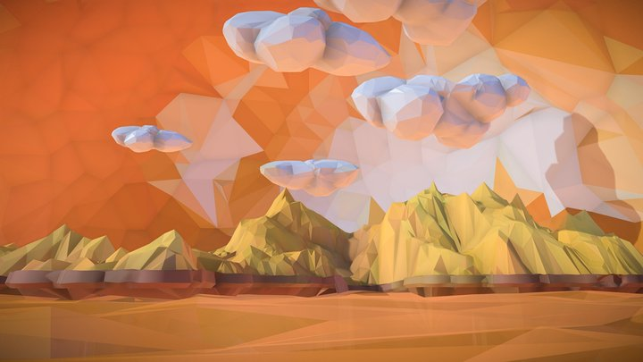 Low Polygon Art Sand Waterfall Island  Mountain 3D Model