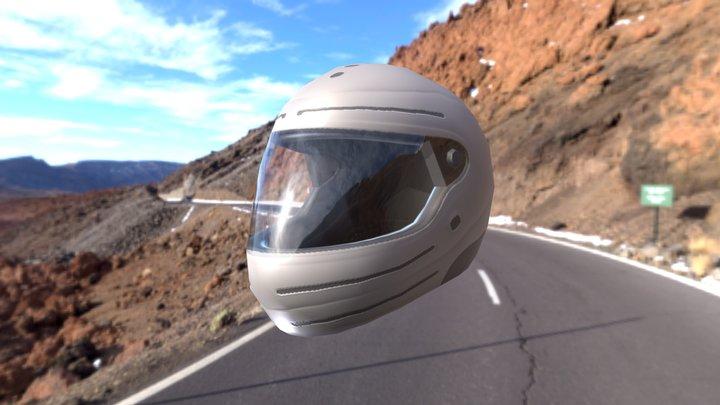 Low-Poly Motorcycle Helmet 3D Model