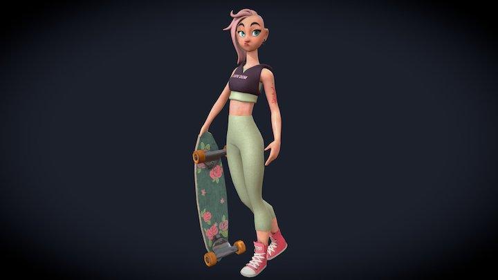 Skater Chick 3D Model