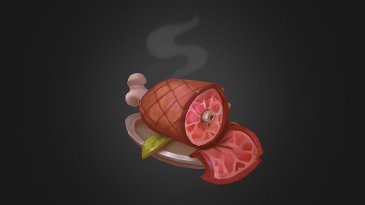 Delicious Meat Hand painted 3D Model