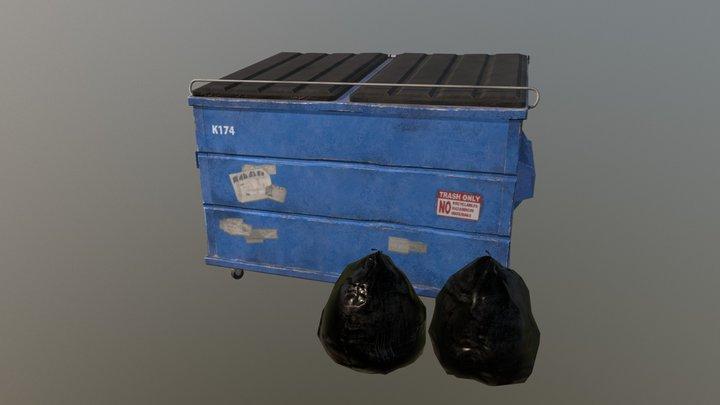 SM Dumpster Red 3D Model