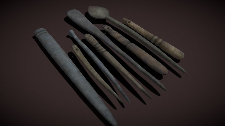 Medieval Needles Makeup and Pieces 3D Model