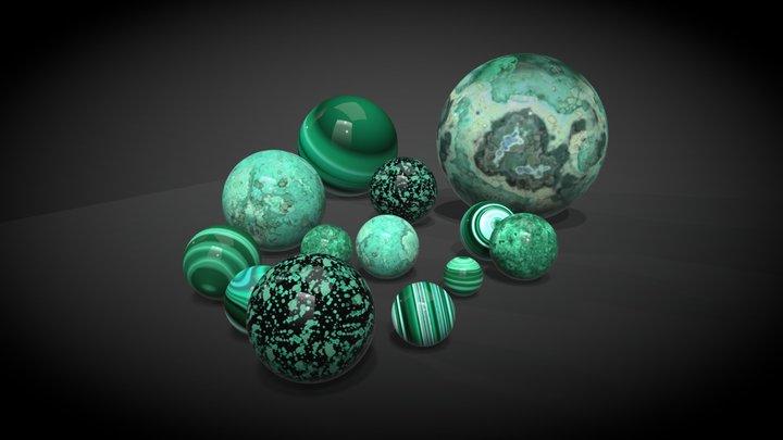 Malachite balls 3D Model