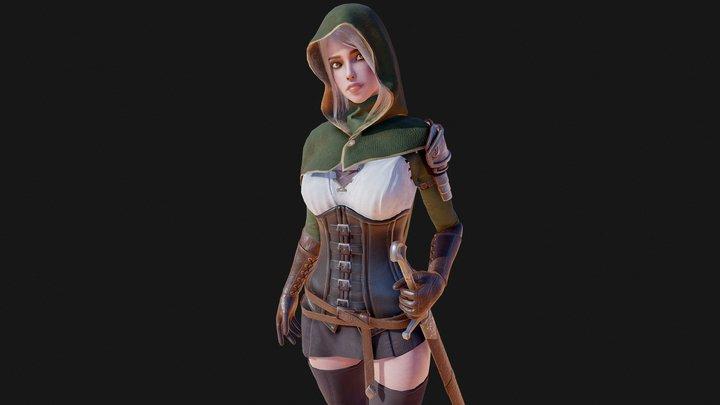 Swordsman Girl Posed 3D Model