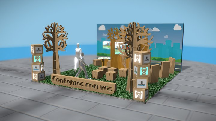 Stand 6x6 mts with recycled materials 3D Model