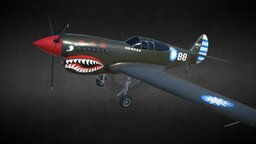 Curtiss P40 Airplane 3D Model