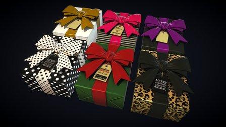 Big Ribbon Holiday Gift Boxes 3D Model