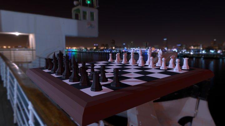 Low Poly Chess Set 3D Model