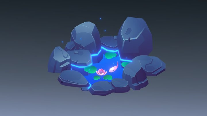 Magic Pond with Fish 3D Model