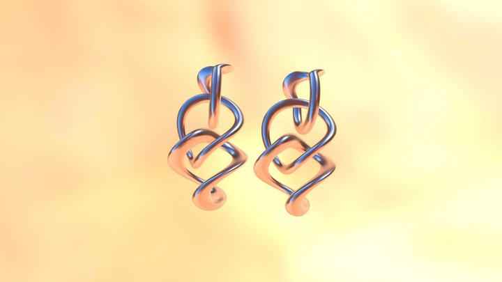 Tumbling Loops Earrings 3D Model