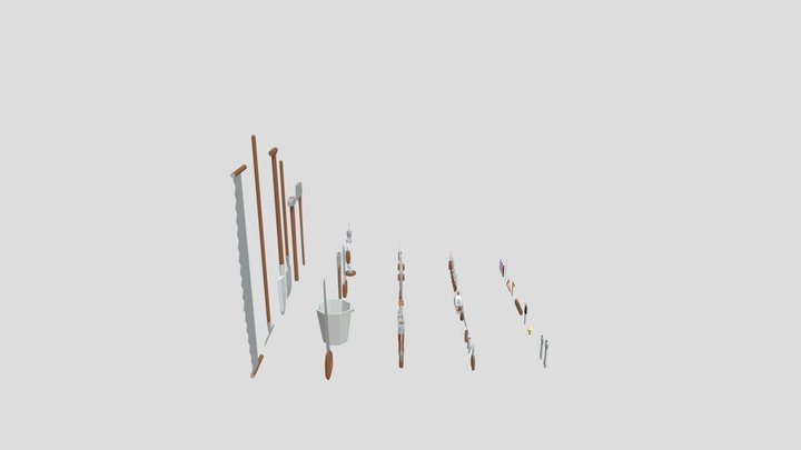 50 Low poly tools 3D Model
