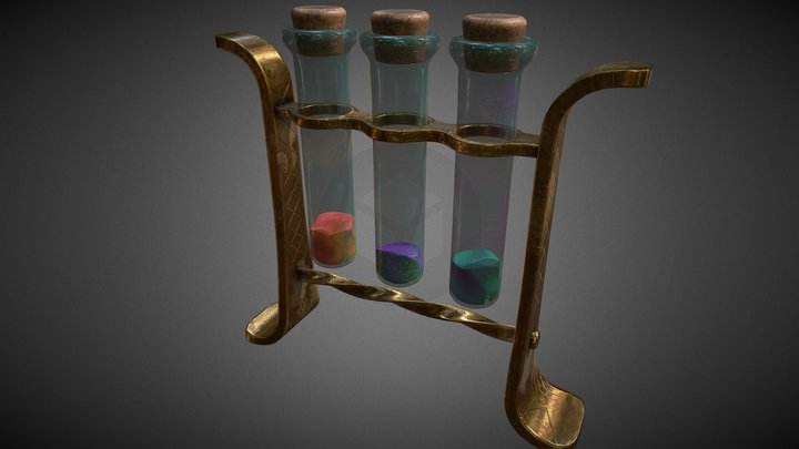 glass tubes with substances PBR lowpoly 3D Model