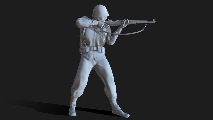 US Soldier WW2. 3D Model
