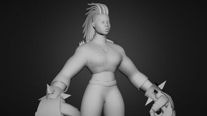 June, a cyberpunk boxer (W.I.P) 3D Model