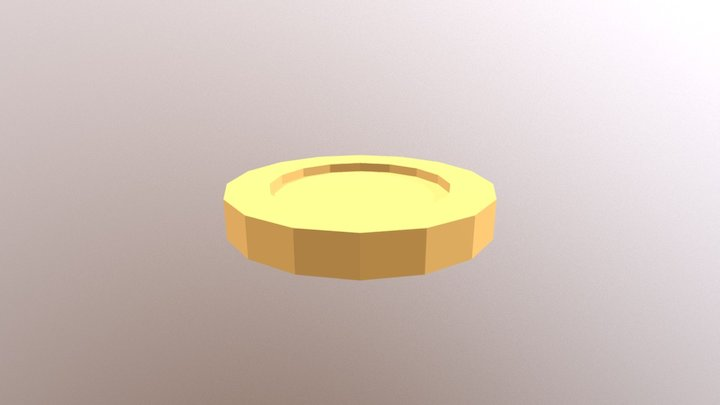 Lowpoly gold coin 3D Model
