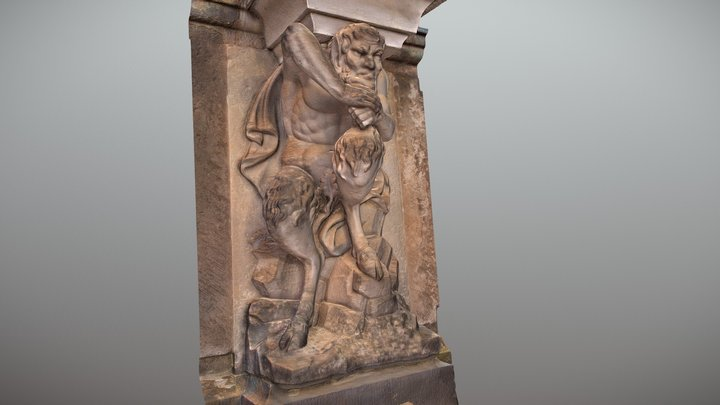 Baroque faun sculpture on a wall 2 3D Model