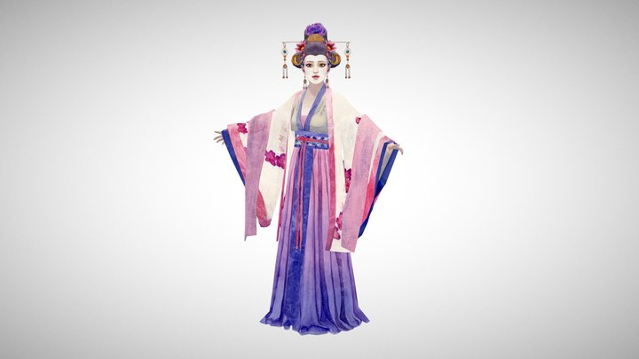 Chinese Empress Low-Poly Watercolour Character 3D Model