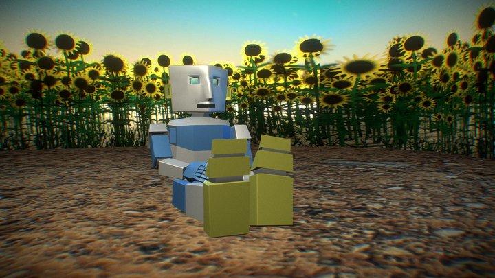 A Robot sitting in a sunflower field. 3D Model