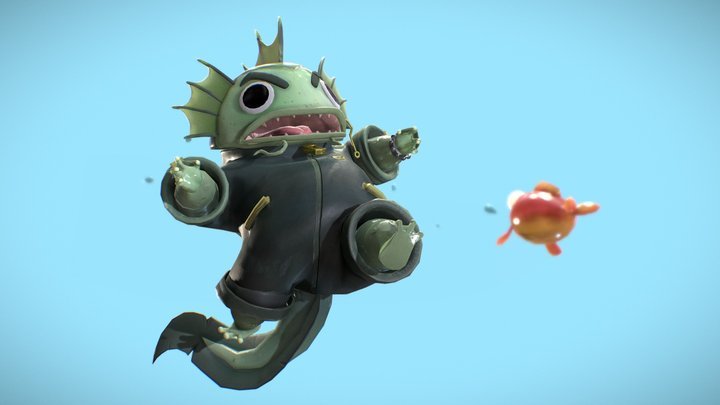 Fish getting smashed 3D Model