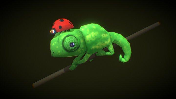 Chameleon and Ladybug (Camaleão e Joaninha) 3D Model