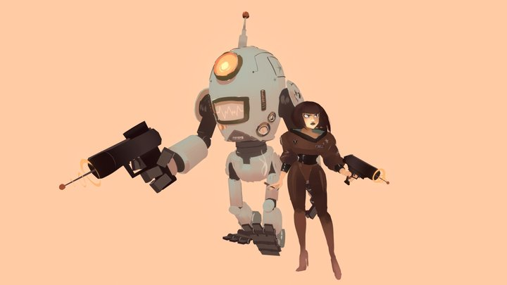 Retro Bot & Space Babe 3D Model