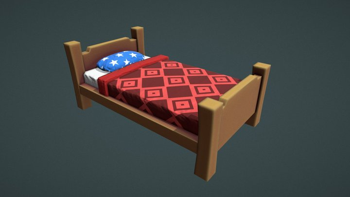 Stylized medieval bed 3D Model