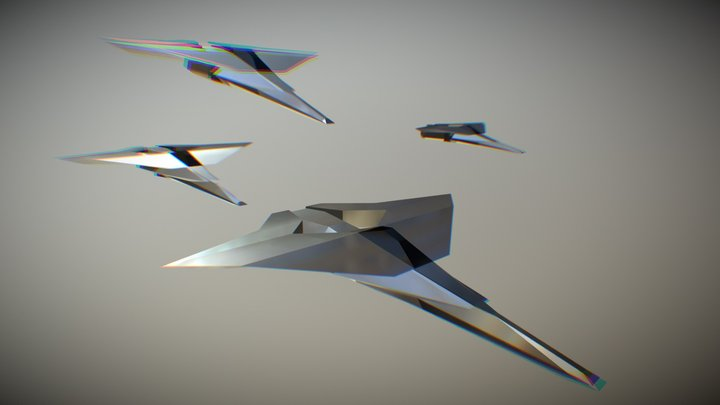 low poly Futuristic Aircraft 3D Model