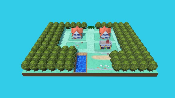 Pallet town (Biancavilla) - Pokémon 3D Model