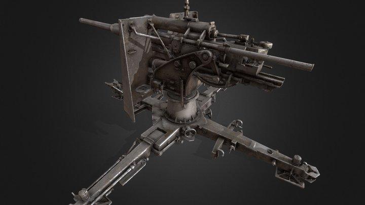 Anti-Aircraft Gun Ver_01 (PBR texture) 3D Model
