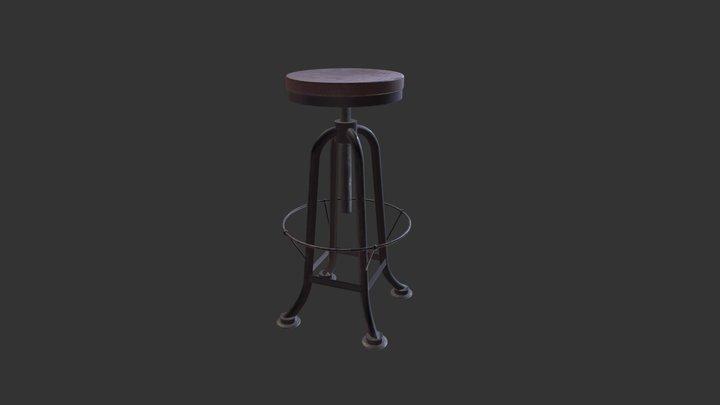 Rustic Bar Stool 3D Model