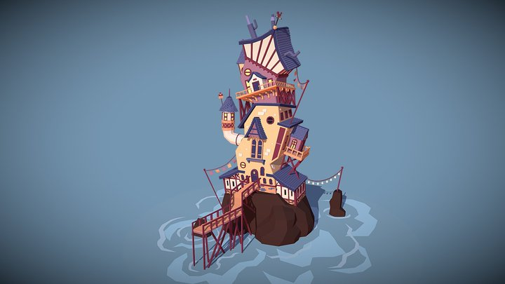 Crooked Island Tower 3D Model