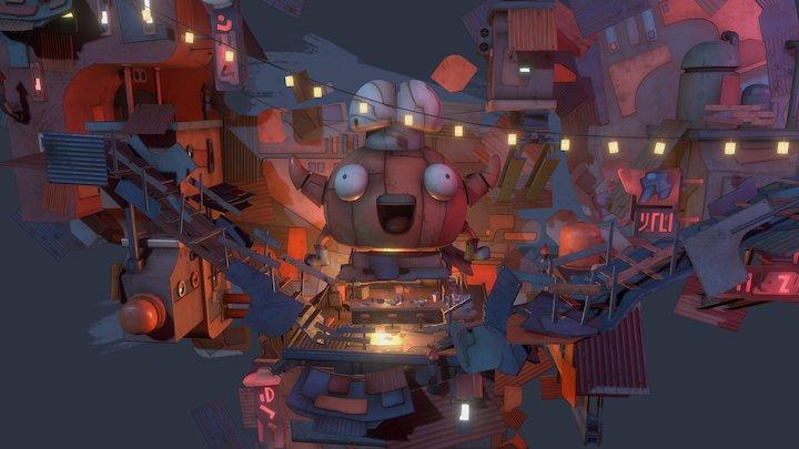 """Wall Town """"ramen bar"""" 3D Model"""