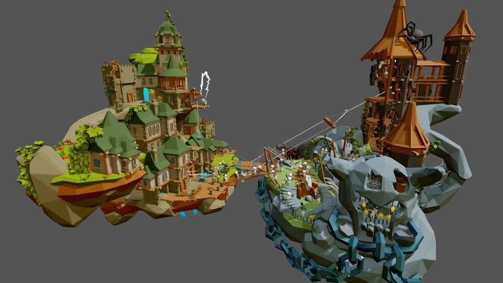 Flying world - Battle of the Trash god 3D Model