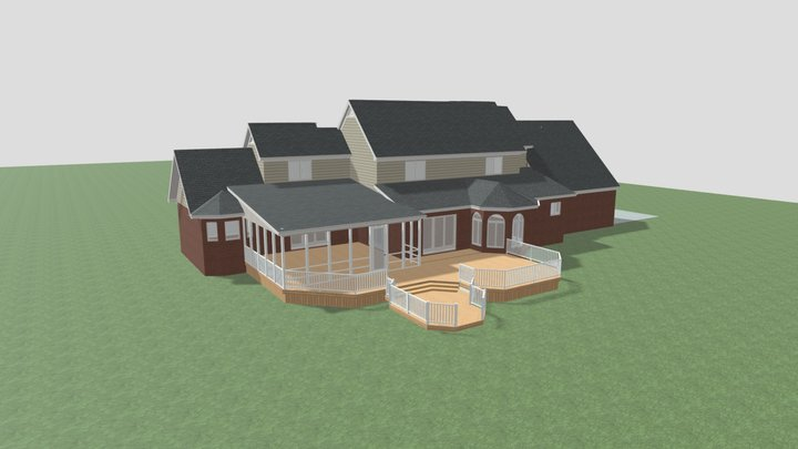 Rear Covered Porch Idea 1 3D Model