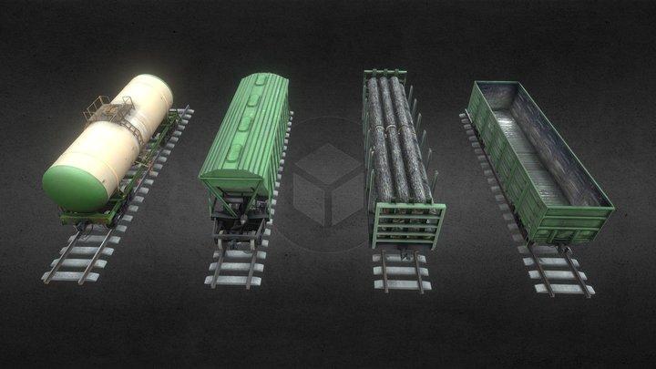 Железнодорожные вагоны (by LightProduction) 3D Model