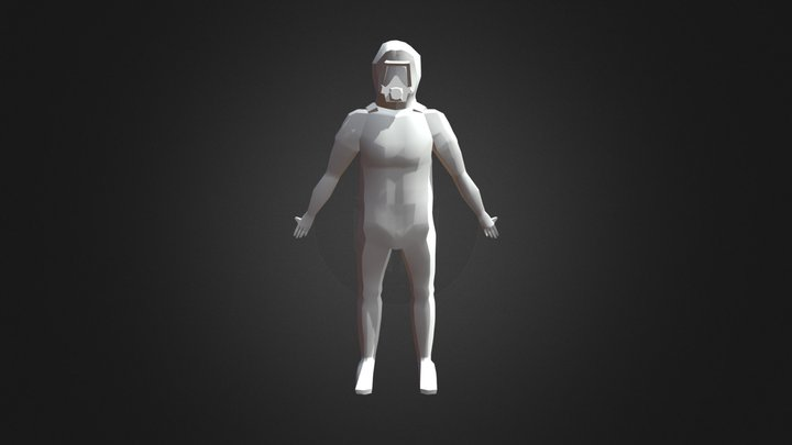 Low Poly Human in Toxic Suit 3D Model